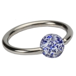 Blue 16 GA Glitter Ball Captive Bead Ring image
