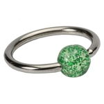 Green 16 GA Glitter Ball Captive Bead Ring image