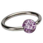 Purple 16 GA Glitter Ball Captive Bead Ring image