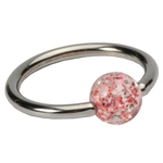 Red 16 GA Glitter Ball Captive Bead Ring image