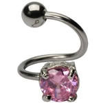 Pink Solitaire CZ Twist Belly Button Ring image