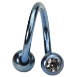 Light Blue 14 GA Titanium Double Gem Spiral Belly Ring image