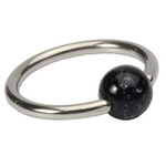 Black 16 GA Glitter Ball Captive Bead Ring image