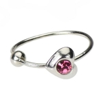Heart Nose Hoop Ring Pink - 20 Gauge image