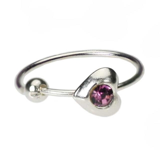 Heart Nose Hoop Ring Purple - 22 Gauge