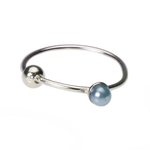 Blue Pearl Nose Ring Hoop- 20g image