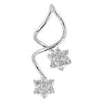 Spiral Belly Button Ring - CZ Flower image