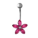 Pink Gem Flower Belly Ring image