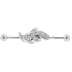 Feather Industrial Ear Piercing - Clear Gems image