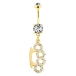Brass Knuckle Belly Button Ring - Gold CZ image