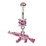 Machine Gun Belly Button Ring - Pink CZ image