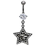 Zebra Star Gem Belly Button Ring image