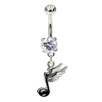 Winged Music Note Belly Button Ring image