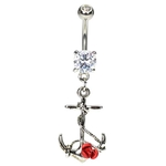 Antique Anchor Belly Button Ring w/ Rose image