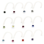 Flexible Single Gem Nose Stud - 18g image