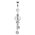 Ring Belly Button Ring w/ CZ image