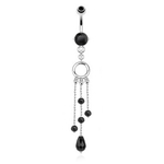 Black Beads Dangling Belly Ring image