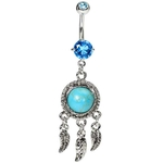 Turquoise Vintage Dream Catcher Belly Ring image