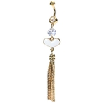 Gold Plated Tassle Heart Belly Ring image