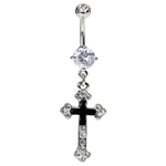 Elegant CZ Cross Belly Button Ring image