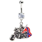 Motorcycle Confederate Flag Belly Ring image