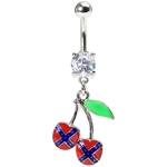 Rebel Flag Cherry Belly Button Ring image