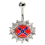 Gemmed Rebel Flag Belly Button Ring image