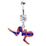 Rebel Flag Mudflap Girl Belly Ring image