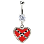 Confederate Heart Dangling Belly Ring image