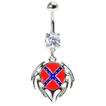 Rebel Flag Tattoo Belly Button Ring image
