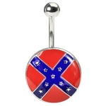 Rebel Flag Logo Belly Button Ring image
