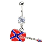 Rebel Flag Guitar Belly Ring image