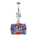 Confederate Rebel Flag & Skull Belly Ring image
