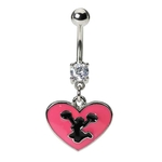 Pink Heart Cheerleader Belly Button Ring image