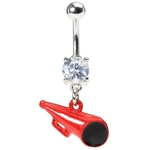 Dangling Red Megaphone Belly Ring image