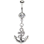 Anchor Belly Button Ring - Clear Gems image