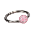Pink 16 GA Glitter Ball Captive Bead Ring image