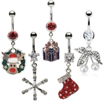 5 Christmas Belly Button Rings image