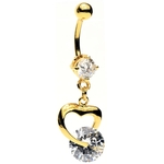Dangling Heart Crystal Belly Button Ring image