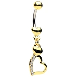 Gold Plated Pave Heart Belly Button Rings image