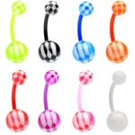 8 Pack Flexible Checker Belly Button Rings image