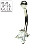 14k White Gold Square CZ Belly Ring image