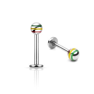Jamaica Striped Straight Barbell - Tragus / Labret Ring