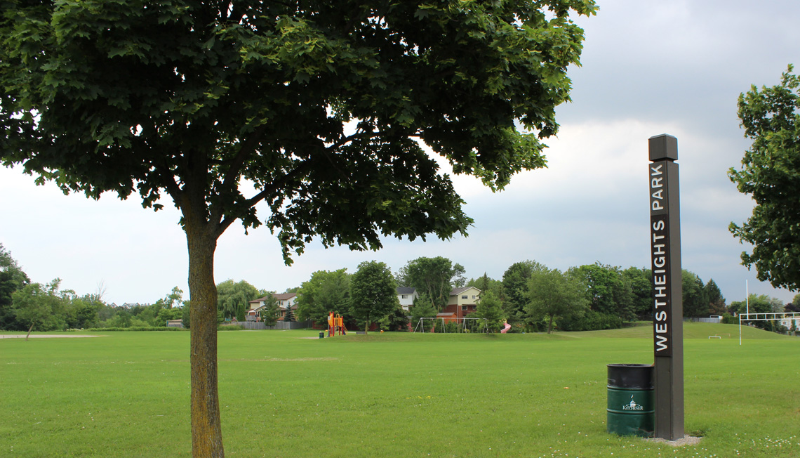 Westheights Park, which contains a collection of sports fields, as well as a forest and a pond.