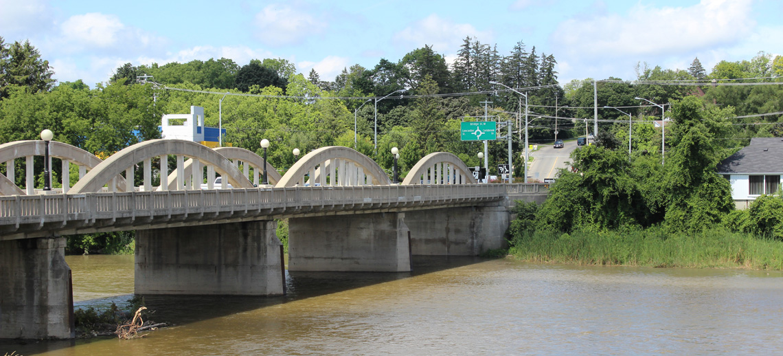 The arched, white stone Bridge Street bridge is one of the defining landmarks of the region