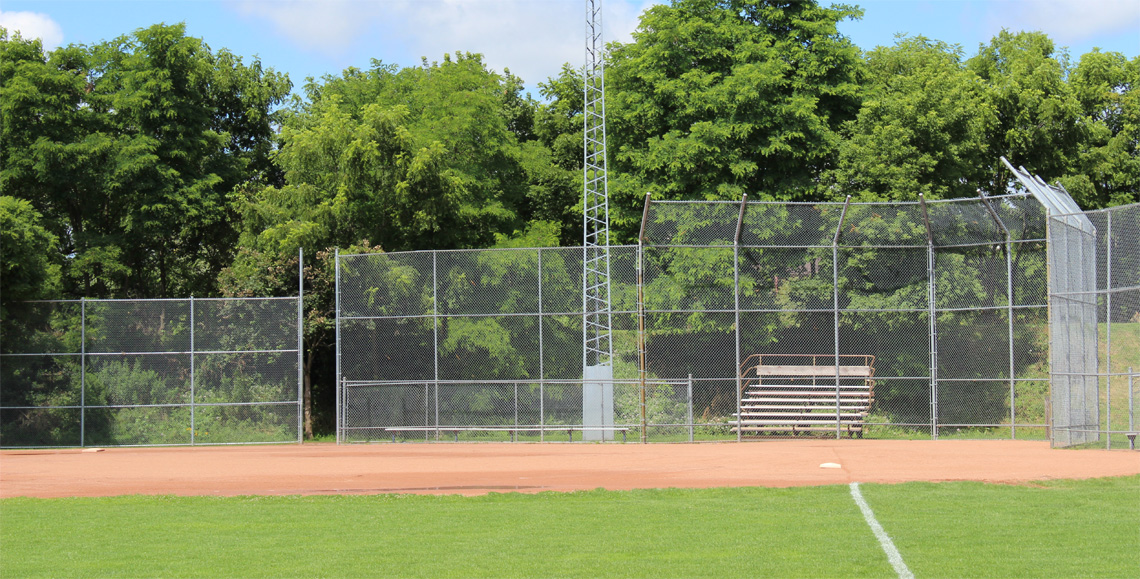 Baseball diamonds at the Bridgeport Sports Field along the river in the east