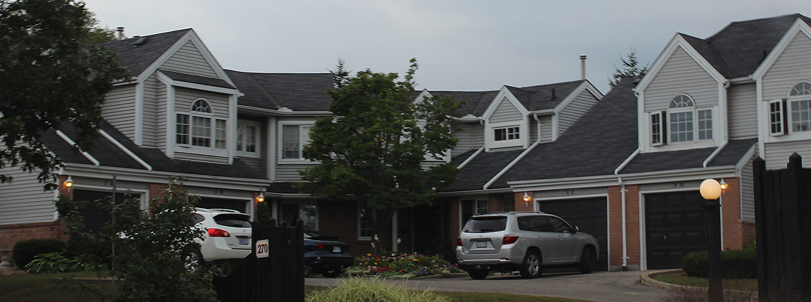 The neighbourhood hosts modest suburban housing