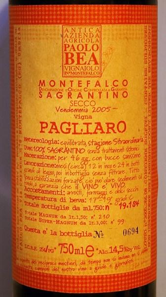 Paolo bea sagrantino di montefalco pagliaro secco