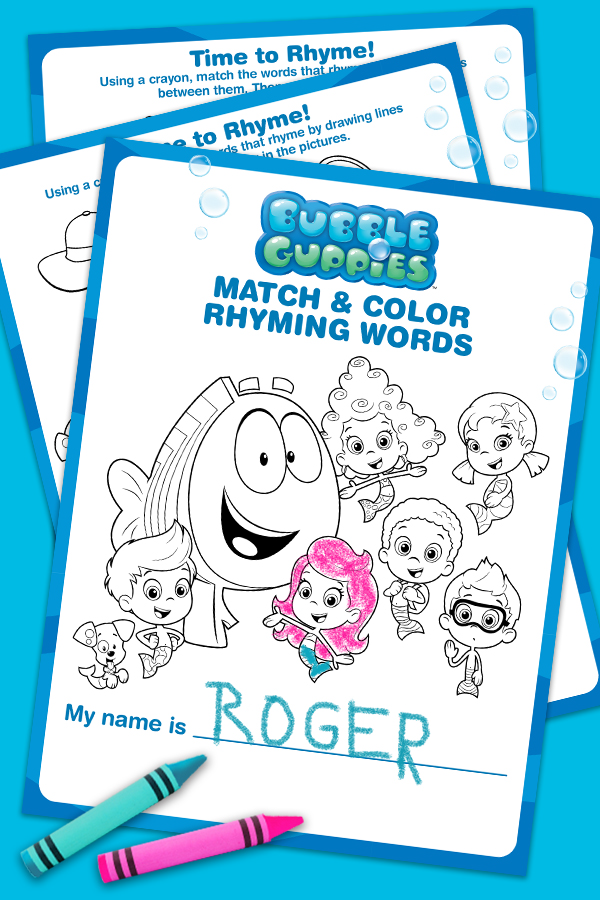 Bubble Guppies Match & Color Rhyming Words