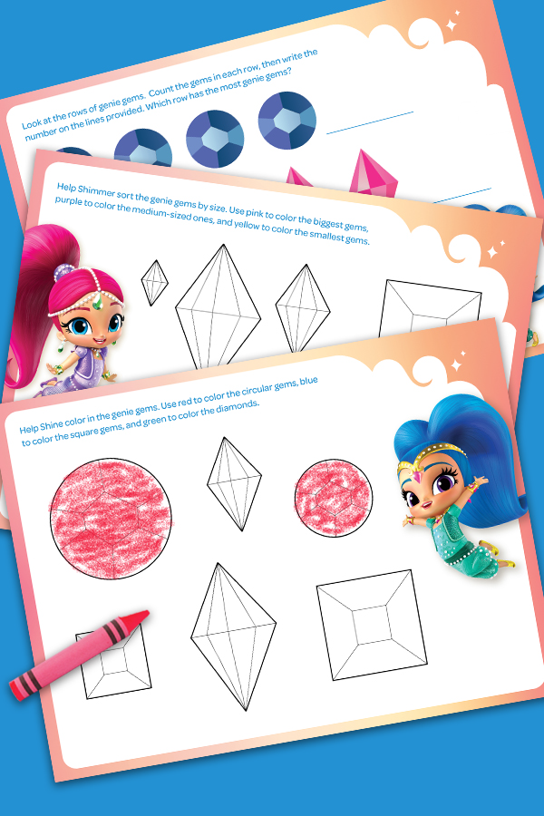 Shimmer and Shine Compare & Color Activity Pack